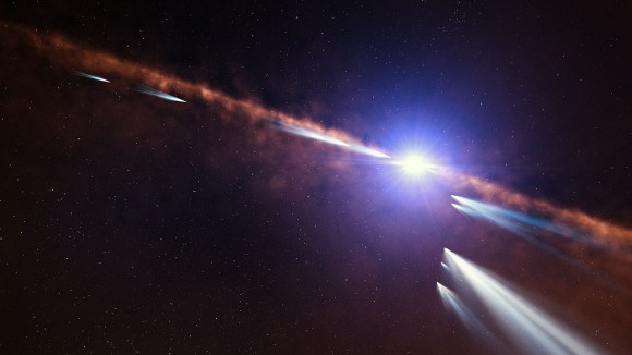 This artist's impression shows exocomets orbiting the star Beta Pictoris. Image: ESO/L. Calçada.