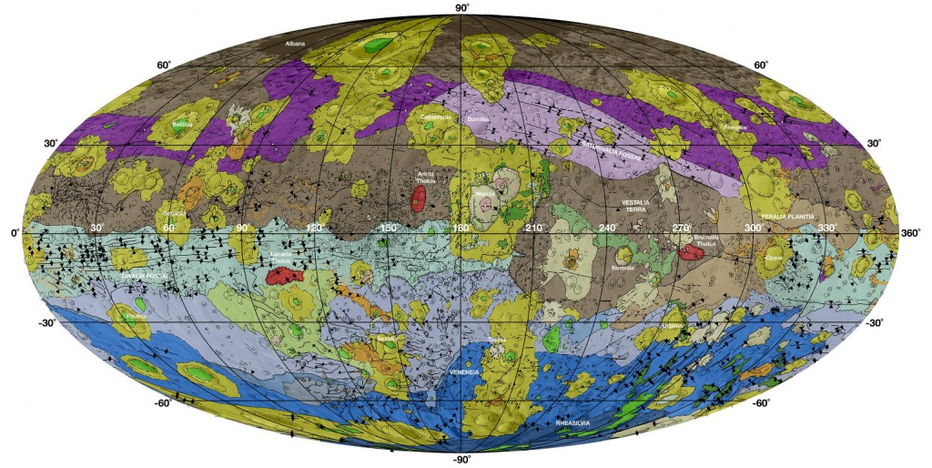 This high-resolution geological map of Vesta is derived from Dawn spacecraft data. Image Credit: NASA/JPL-Caltech/ASU