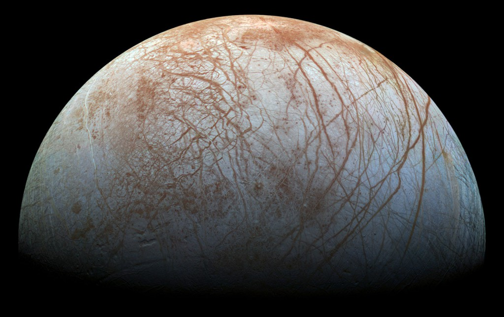 NASA's reworked image of Europa based on late 1990s data from the Galileo spacecraft.