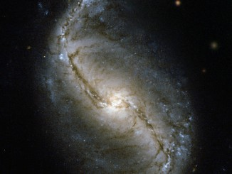 Spiral galaxy NGC 986 in the constellation of Fornax