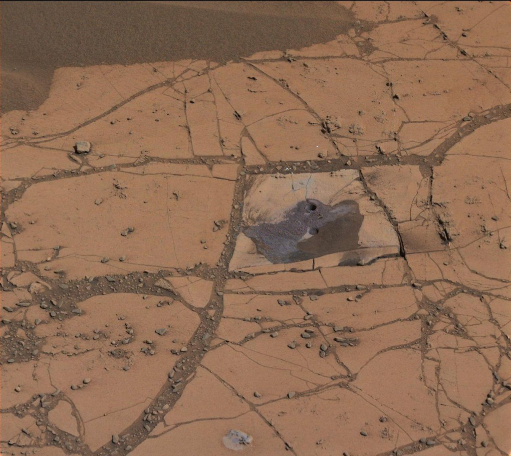This image shows the first holes drilled by NASA's Mars rover Curiosity at Mount Sharp. Image: NASA/JPL-Caltech/MSSS.