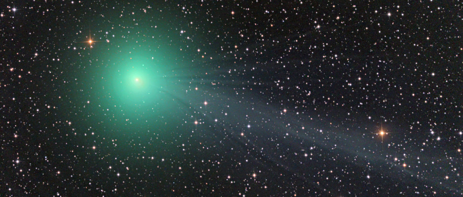 Captured on the border of southern constellations Puppis and Columba on 16th December in this wonderful image by Damian Peach, the coma of comet C/2014 Q2 Lovejoy is glowing green due to the fluorescence of diatomic C2 gas in sunlight.