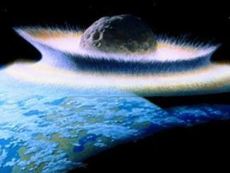 Artist's concept of a 1000 kilometre diameter asteroid hitting a primordial Earth, the possible cause of a mass extinction. Image credit: Don Davis (work commissioned by NASA) Public Domain, via Wikimedia Commons