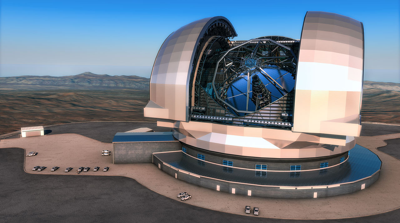 """This artist's impression shows the 39-metre aperture European Extremely Large Telescope (E-ELT) in its enclosure. The instrument will be an optical and infrared telescope sited on Cerro Armazones in the Chilean Atacama Desert, 20 kilometres from ESO's Very Large Telescope on Cerro Paranal. It will be the world's largest """"eye on the sky"""". Image credit: ESO/L. Calçada"""