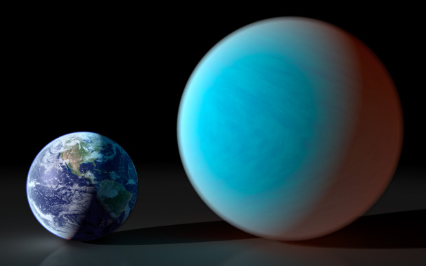 An artist's impression of exoplanet 55 Cancri e compared to the size of the Earth. Its parent star, 55 Cancri, is about 41 light-years away and just visible to the naked eye. Image credit: York University, Toronto, Canada