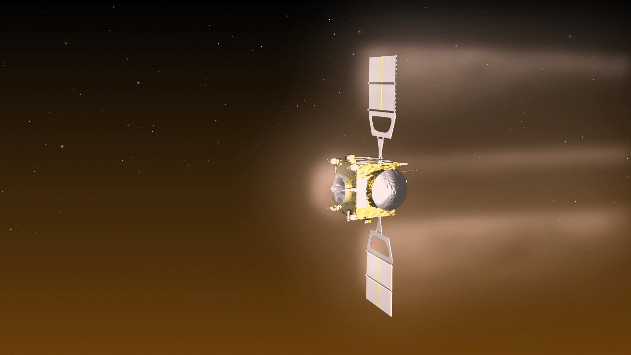 """Artist's concept of the Venus Express spacecraft during an """"aerobreaking"""" campaign conducted in mid-2014. Credit: ESA-C. Carreau"""
