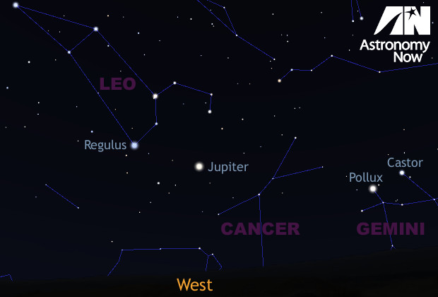 During the time that the triple shadow transit is happening, Jupiter will be in the west at about 20° altitude for observers in the centre of the British Isles. AN graphic by Ade Ashford