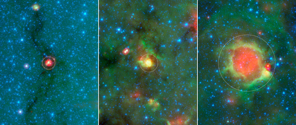 """This series of images show three evolutionary phases of massive star formation, as pictured in infrared images from NASA's Spitzer Space Telescope. The stars start out in thick cocoon of dust (left), evolve into hotter features dubbed """"yellowballs"""" (centre); and finally, blow out cavities in the surrounding dust and gas, resulting in green-rimmed bubbles with red centres (right). The process shown here takes roughly a million years. Even the oldest phase shown here is fairly young, as massive stars live a few million years. Eventually, the stars will migrate away from their birth clouds. Image credit: NASA/JPL-Caltech"""