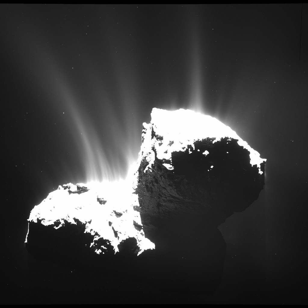 The wide-angle camera of Rosetta's OSIRIS instrument took this image on 22nd November 2014, at a distance of 30 kilometres from Comet 67P/Churyumov-Gerasimenko. The image resolution is 2.8 metres per pixel. The nucleus is deliberately overexposed in order to reveal the faint jets of activity. Image credit: ESA/Rosetta/MPS for OSIRIS Team MPS/UPD/LAM/IAA/SSO/INTA/UPM/DASP/IDA