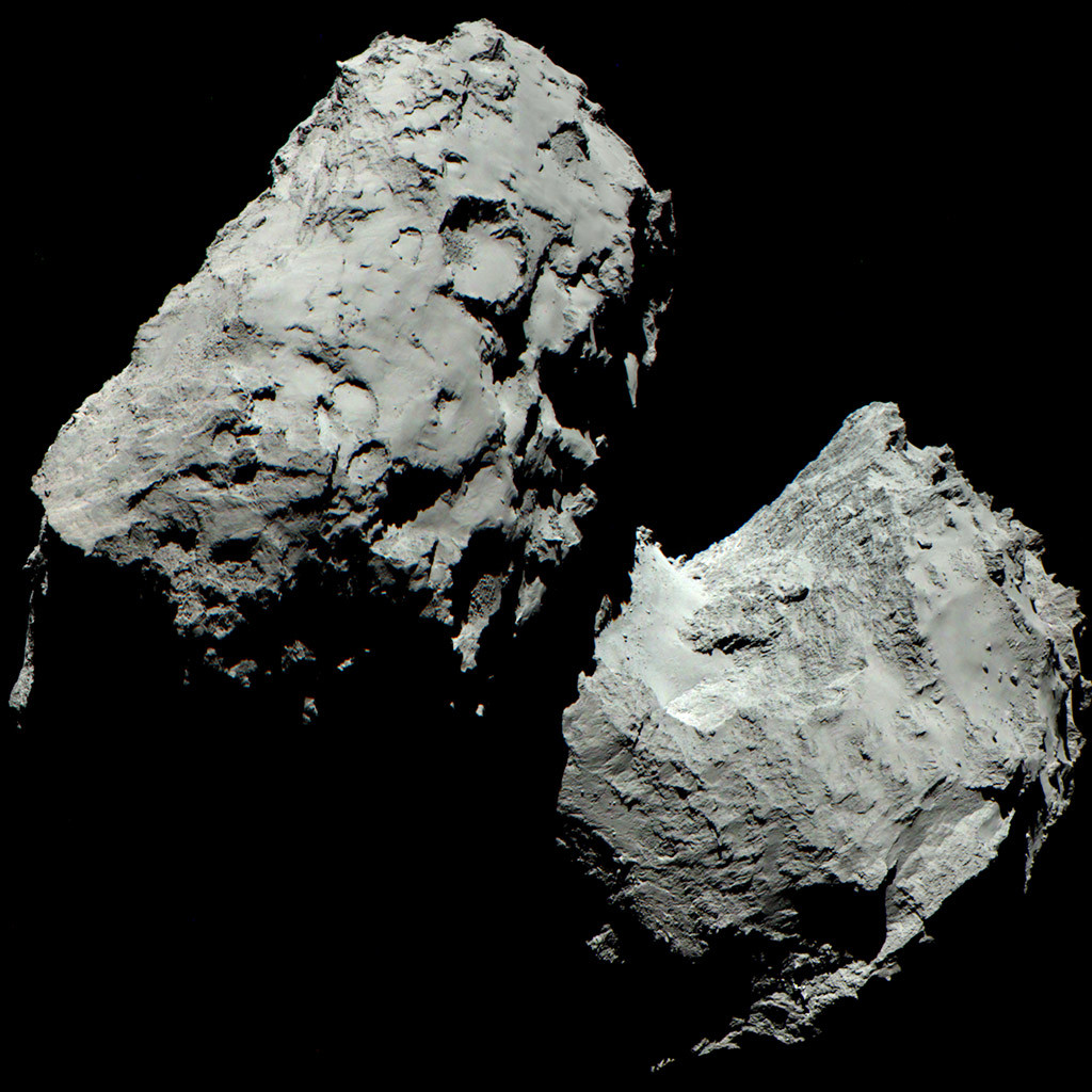 This colour image of Comet 67P/Churyumov-Gerasimenko is composed of three images taken by Rosetta's OSIRIS cameras using red, green and blue filters. The images were taken on 6th August 2014 at a distance of 120 kilometres from the comet. Image credit: ESA/Rosetta/MPS for OSIRIS Team MPS/UPD/LAM/IAA/SSO/INTA/UPM/DASP/IDA
