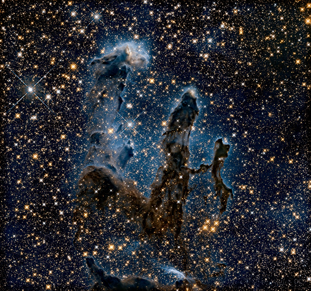 A Near-Infrared View of the Pillars of Creation. Image: NASA, ESA, and the Hubble Heritage Team (STScI/AURA).