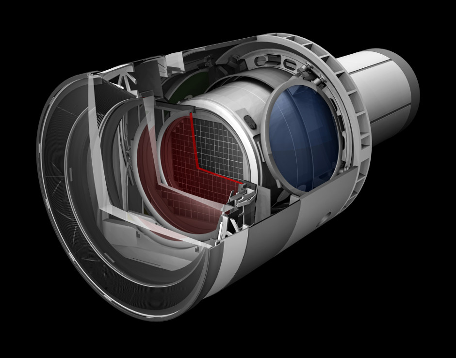 Rendering of the LSST camera. SLAC is leading the construction of the 3,200-megapixel camera, which will be the size of a small car and weigh more than 3 tons. The digital camera will be the largest ever built, allowing LSST to create an unprecedented archive of astronomical data that will help researchers study the formation of galaxies, track potentially hazardous asteroids, observe exploding stars and better understand mysterious dark matter and dark energy, which make up 95 percent of the universe. Image credit: SLAC National Accelerator Laboratory