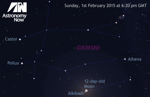 The lunar occultation of magnitude-3.6 star Lamdba (λ) Geminorum, otherwise known as Alkibash, occurs early on the evening of 1st February as seen from the British Isles. AN graphic by Ade Ashford