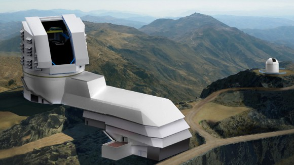 Rendering of the LSST observatory (foreground) atop Cerro Pachón in Chile. When LSST starts taking images of the entire visible southern sky in 2022, it will produce the widest, deepest and fastest views of the night sky ever observed. Over a 10-year time frame, LSST will image several tens of billions of objects and create movies of the sky with unprecedented detail. Image credit: Large Synoptic Survey Telescope Project Office