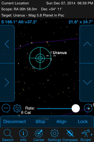While looking for planet Uranus on 7th December 2014, I noticed a nearby galaxy (lower left of the targeting reticle) on SkyPortal's screen. It turned out to be IC1613, an irregular dwarf galaxy in Cetus, one of the first to be recognised as a member of the Local Group! Such serendipitous finds are common with an Evolution telescope. AN graphic by Ade Ashford/SkyPortal
