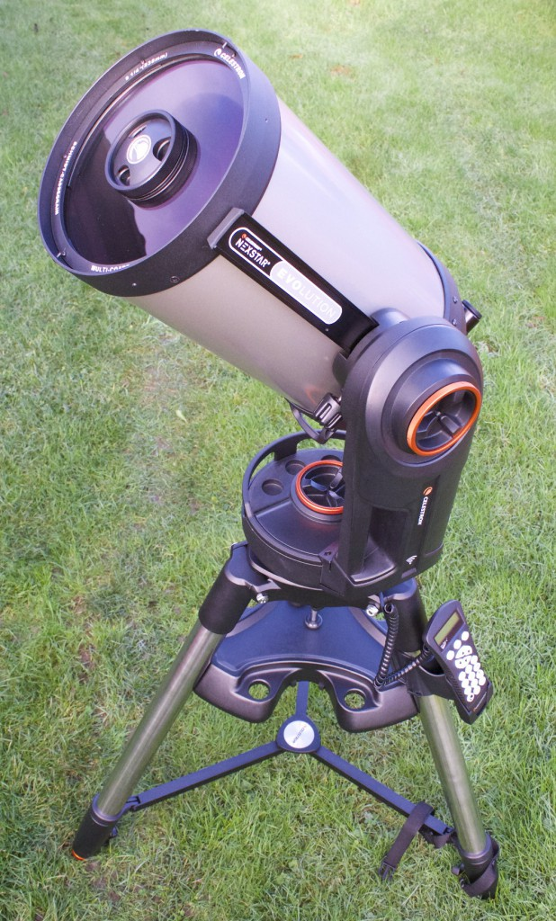 The mount of all models in the Celestron NexStar Evolution range can be controlled and wirelessly configured via Celestron's free SkyPortal app. If you don't have a smart 'phone or tablet, you can still drive the 'scope with the supplied NexStar+ hand controller shown. Note the large orange alt-az clutch knobs for easy operation with gloved hands and the Fastar-compatible optical tube. Fastar enables you to replace the secondary mirror with corrective optics, then image with a CCD camera at the prime f/2 focus. AN image by Ade Ashford