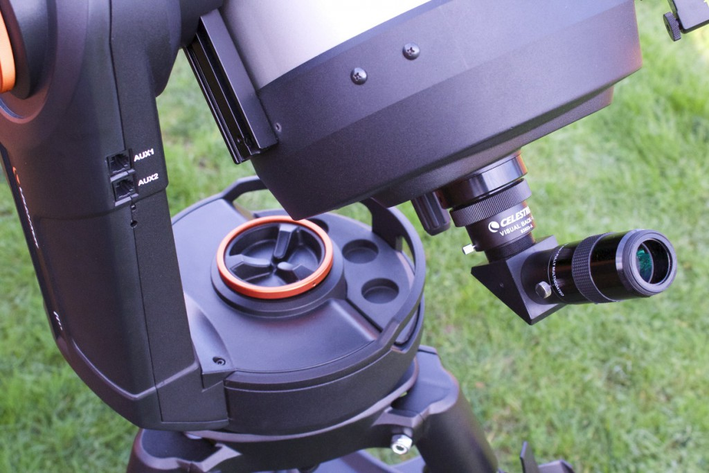The Evolution mount has four Auxiliary Ports — two on the fork-arm shown here and two underneath — to accommodate Celestron accessories such as StarSense AutoAlign or SkySync GPS. There is also a small switch on the fork arm to toggle between Direct Connect (default) and Access Point WiFi modes, depending on how you wish to wirelessly connect to the mount. AN image by Ade Ashford