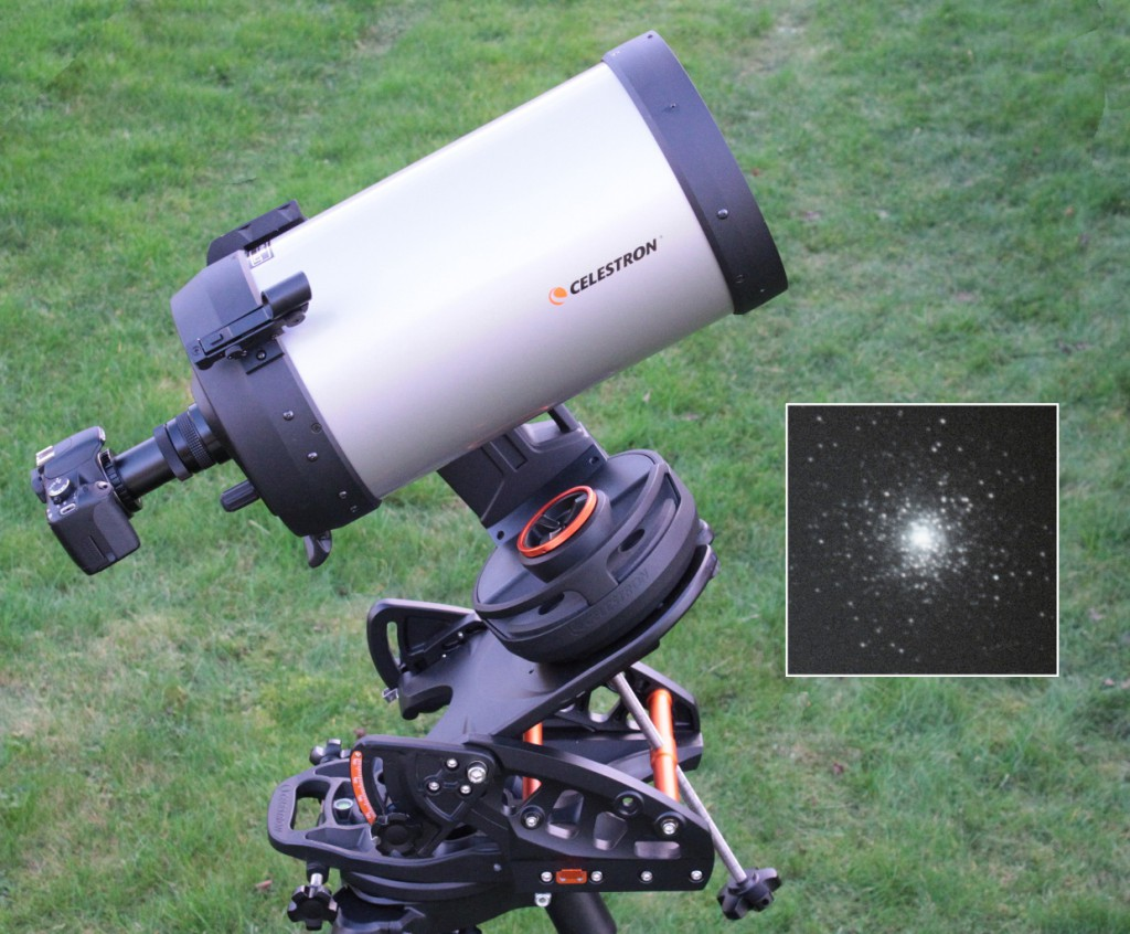 The other side of the Evolution 9.25 on an optional Celestron Pro HD wedge, this time showing the Canon 450D DSLR, T-mount and f/6.3 focal reducer (hence a resulting focal length of 1480mm) used for the inset image of globular cluster Messier15 captured with a Moon one day from full in the sky. It's a 2.5-minute, unguided, non-PEC, ISO400 exposure demonstrating the instrument's tracking accuracy. Note that the star images are sensibly round. AN image by Ade Ashford