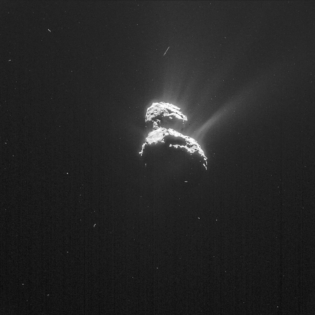 NAVCAM image of Comet 67P/C-G taken on 18 February from a distance of 198 km to the comet centre. The image has been processed to bring out the details of the comet's activity. The exposure time of the image is 4 seconds. Image: ESA/Rosetta/NAVCAM – CC BY-SA IGO 3.0