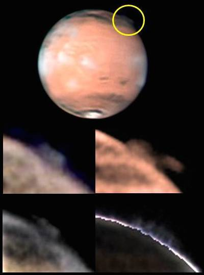 The top image shows the location of a mysterious plume on Mars, identified within the yellow circle (top image, south is up), along with different views of the changing plume morphology taken by W. Jaeschke and D. Parker on 21st March 2012. Image credit: W. Jaeschke and D. Parker