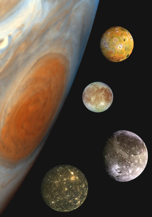 A montage of Jupiter's four Galilean moons, in a composite image comparing their sizes and that of Jupiter and the Great Red Spot. From top to bottom: Io, Europa, Ganymede, Callisto. Image credit: NASA/JPL/DLR - NASA planetary photojournal