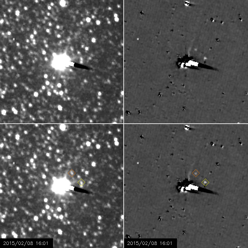 """The right-hand images have been processed to remove most of Pluto and Charon's glare, and most of the background stars. The processing leaves blotchy and streaky artifacts in the images, as well as a few other residual bright spots that are not real features, but makes Nix and Hydra much easier to see. Celestial north is inclined 28° clockwise from the """"up"""" direction in these images. Image credits: NASA/Johns Hopkins University Applied Physics Laboratory/Southwest Research Institute"""