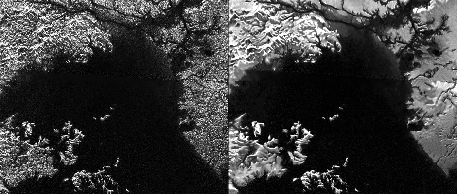 Presented here are side-by-side comparisons of a traditional Cassini Synthetic Aperture Radar (SAR) view and one made using a new technique for handling electronic noise that results in clearer views of Titan's surface. Image credit: NASA/JPL-Caltech/ASI