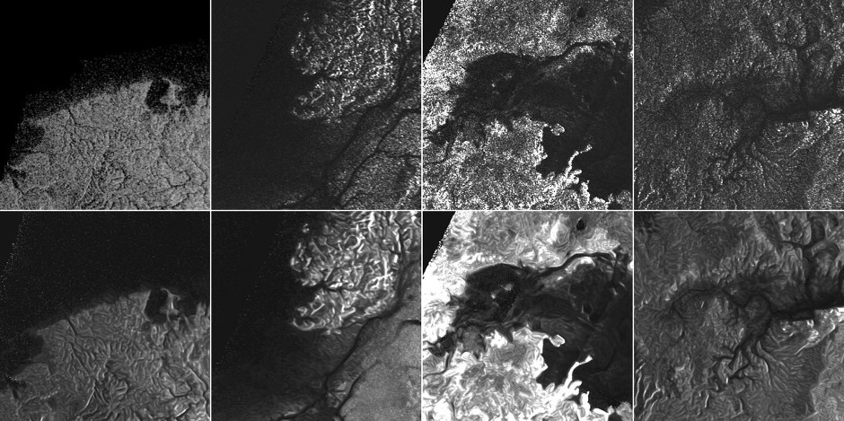 This montage of Cassini Synthetic Aperture Radar (SAR) images of the surface of Titan shows four examples of how a newly developed technique for handling noise results in clearer, easier to interpret views. Image credit: NASA/JPL-Caltech/ASI