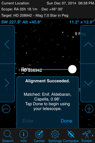 SkyPortal's default SkyAlign procedure simply asks you to point the telescope, in turn, at any three stars in the sky — first aligning them in the StarPointer before fine centring in the eyepiece. Since SkyPortal already knows the date, time and location from your 'phone or tablet, the app calculates (and displays) which stars you chose and the alignment procedure is complete! AN graphic by Ade Ashford/SkyPortal