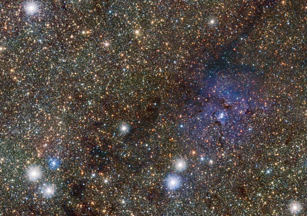 This small extract from the VISTA VVV survey of the central parts of the MilkyWay shows the famous TrifidNebula to the right of centre. It appears as faint and ghostly at these infrared wavelengths when compared to the familiar view in visible light. This transparency has brought its own benefits — many previously hidden background objects can now be seen clearly. Among these are two newly discovered Cepheid variable stars, the first ever spotted on the far side of the galaxy near its central plane. Image credit: ESO/VVV consortium/D. Minniti