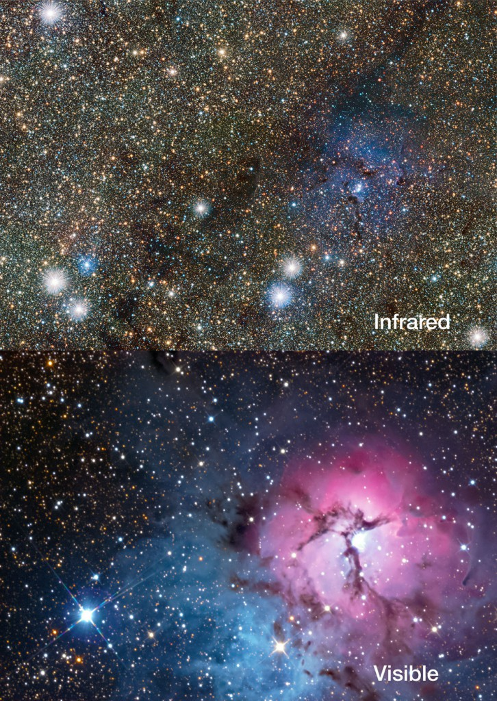 This picture compares a new view of the Trifid Nebula in infrared light, from the VVV VISTA survey (top) with a more familiar visible-light view from a small telescope (bottom). The glowing clouds of gas and dust are much less prominent in the infrared view, but many more stars behind the nebula become apparent, including two newly discovered Cepheid variable stars. Image credit: ESO/VVV consortium/D. Minniti/Gábor Tóth