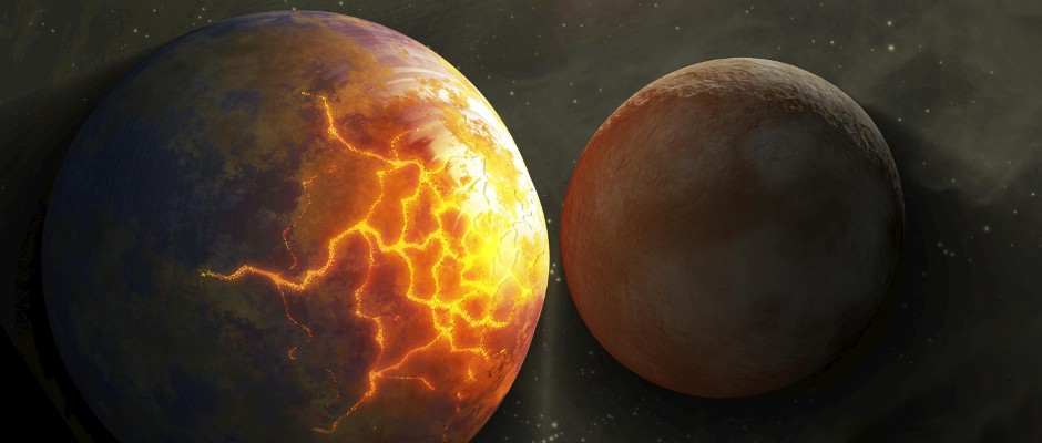 This artist's concept illustrates an imminent planetary collision between first generation planets whose orbits have been disrupted due to Jupiter sweeping through the nascent Solar System. The larger body has begun to crack under the tidal stresses caused by the gravity of the approaching smaller one. Image credit: NASA/JPL-Caltech