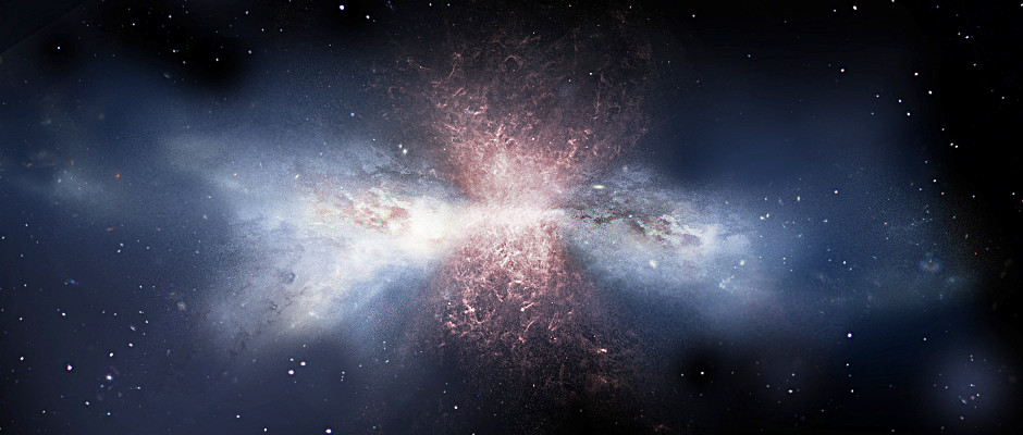 This artist's impression of the galaxy IRAS F11119+3257 shows the outflow of molecular gas (red) powered by winds from a supermassive black hole at the galaxy's core. Image credit: ESA/ATG medialab