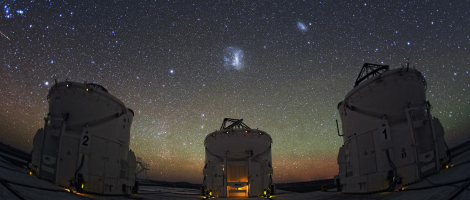 Three of the four VLT Auxiliary Telescopes at the European Southern Observatory's Paranal Observatory in Chile pictured beneath the Large and Small Magellanic Clouds — the region of sky where the new dwarf galaxies were found. Image credit: ESO/Y. Beletsky