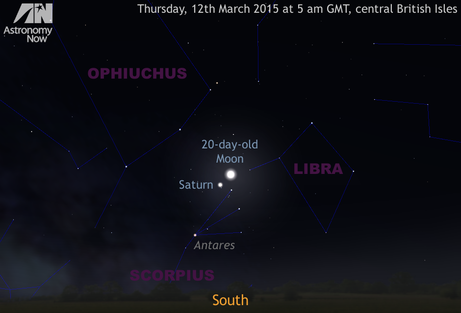 On Thursday, March 12th, the waning gibbous Moon and Saturn are just 2° apart in northern Scorpius during dawn astronomical twilight for observers in the British Isles. AN graphic by Ade Ashford