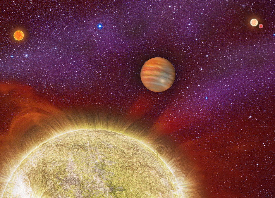 Artist's conception of the 30 Ari star system composed of four stars. The distant companion 30 Ari A is actually a pair of stars in a close orbit. The research team discovered the fourth star in the system (the left-most star in the image). That star is a small red dwarf. A massive planet orbits the star named 30 Ari B in a nearly year-long orbit. Image credit: Karen Teramura, UH IfA