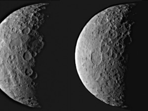 NASA's Dawn spacecraft took these images of dwarf planet Ceres from about 25,000 miles (40,000 kilometres) away on February 25th, 2015. Ceres appears half in shadow because of the current position of the spacecraft relative to the dwarf planet and the Sun. The resolution is about 2.3 miles (3.7 kilometres) per pixel. Image credit: NASA/JPL-Caltech/UCLA/MPS/DLR/IDA
