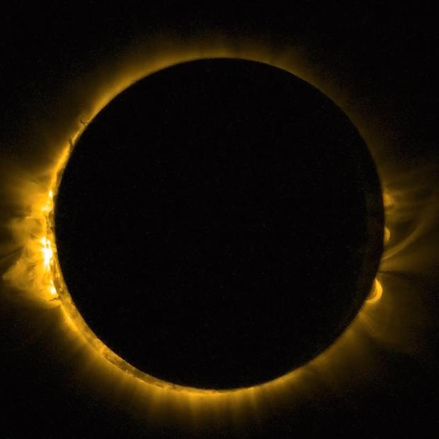 ESA's Proba 2 also saw the solar eclipse from space. Image: ESA/ROB.