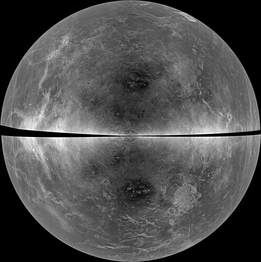 "A whole-globe projection of the radar data of Venus collected in 2012. The black diagonal band at the centre represents areas too close to the Doppler ""equator"" to obtain well-resolved image data. Image credit: B. Campbell, Smithsonian, et al., NRAO/AUI/NSF, Arecibo"
