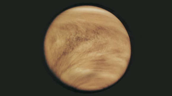 An ultraviolet image of Venus' clouds as seen by the Pioneer Venus Orbiter on February 26th, 1979. The immense Y-shaped features which are visible only in these wavelengths are individually short lived, but reform often enough to be considered a permanent feature of Venus' clouds. Image credit: NASA
