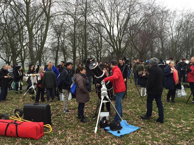 Large crowds gathered at Regent's Park in London, but not even a wall of cloud could dampen their spirits.