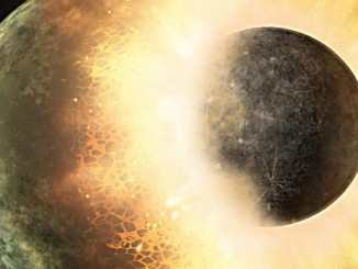 This artist's rendering shows the collision of two planetary bodies. A collision like this is believed to have created the Moon within the first 150 million years after our Solar System formed. Image credit: NASA/JPL-Caltech