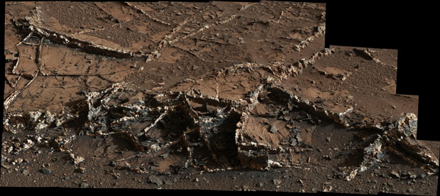 """This March 18, 2015, view from the Mast Camera on NASA's Curiosity Mars rover shows a network of two-tone mineral veins at an area called """"Garden City"""" on lower Mount Sharp. Credit: NASA/JPL-Caltech/MSSS."""