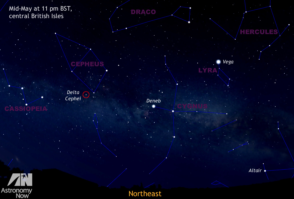 This illustration shows you how to find Delta (δ) Cephei in the May night sky. It represents a quadrant of sky centred on northeast as seen from the centre of the BritishIsles mid-month at 11pmBST. AN graphic by AdeAshford.