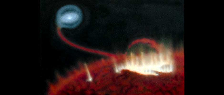 Artist's impression of a giant flare on the surface of red giant MiraA. Behind the star, material is falling onto the star's tiny companion, MiraB. Image credit: Katja Lindblom, CC BY-NC-ND 4.0