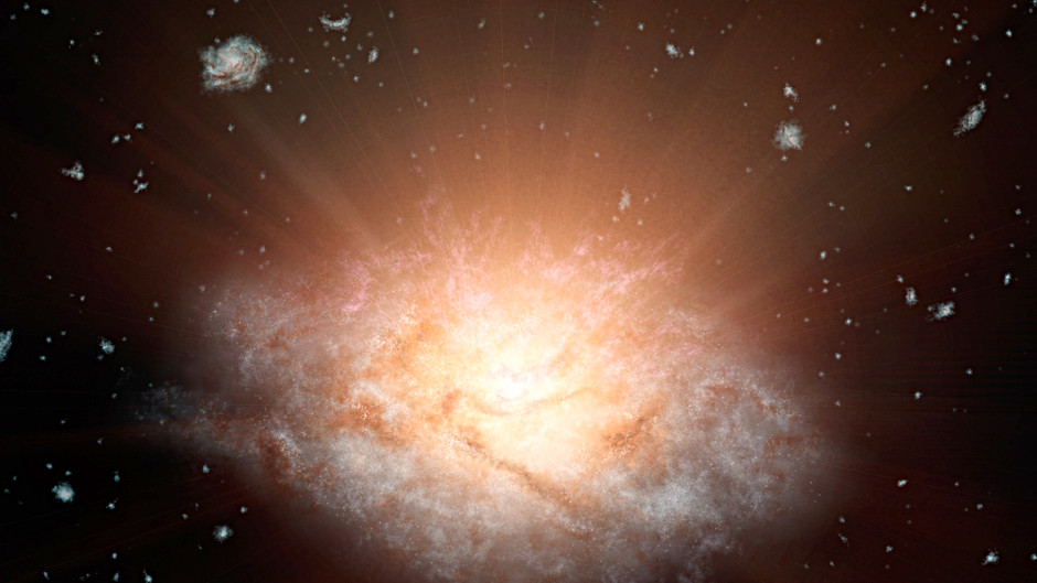 This artist's concept depicts the current record holder for the most luminous galaxy in the universe. The galaxy, WISEJ224607.57-052635.0, is erupting with light equal to more than 300 trillion suns and lies 12.5 billion light-years away. It belongs to a new class of objects recently discovered by NASA's WISE mission — extremely luminous infrared galaxies, or ELIRGs. Image credit: NASA/JPL-Caltech.
