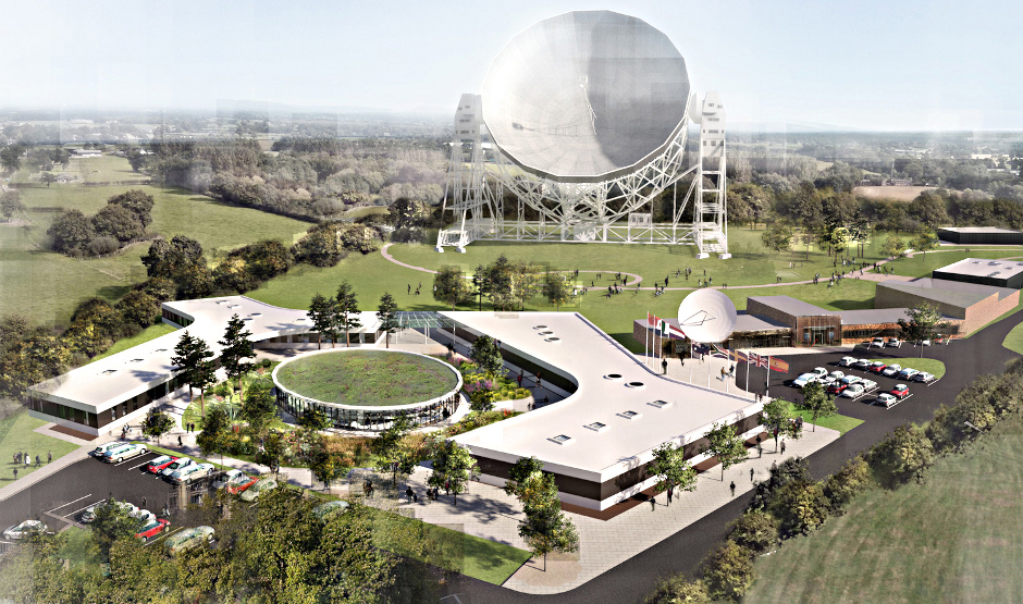 Artist's impression of the expansion to the current headquarters at Jodrell Bank proposed by the UK. Image credit: The University of Manchester.