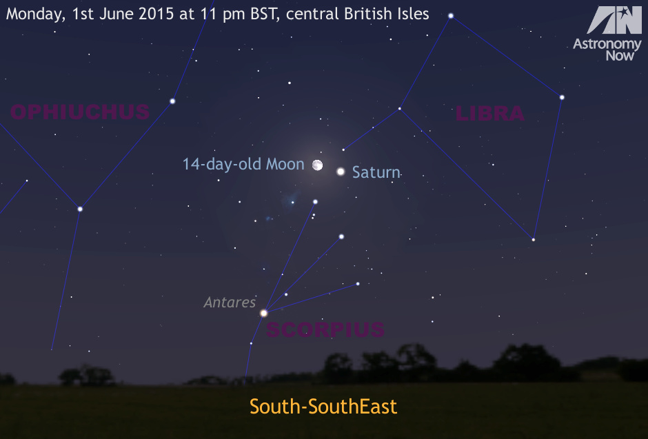 Late in to the evening of Monday, June 1st, the 14-day-old and nearly full Moon forms an unequivocal guide to ringed planet Saturn as the pair will lie just 1.7° (the width of a thumb held at arm's length) apart. AN graphic by Ade Ashford.