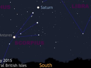 The 2015 opposition of Saturn occurs in the constellation of Libra on May 23rd. Southern Hemisphere observers are favoured owing to the planet's southerly declination, but on nights of calm seeing much detail will still be seen in modest instruments from the British Isles. Saturn is conveniently situated a little over 10° — the span of a fist at arm's length — to the upper right of Antares in Scorpius. The ringed planet is highest in the sky around 1amBST on May 23rd, reaching this position half and hour earlier with each passing week. AN graphic by Ade Ashford.