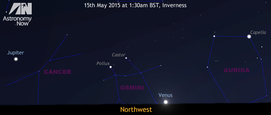 Venus currently lies near the position occupied by the Sun at the June solstice in the constellation of Gemini, has a declination exceeding +26° and is close to its greatest easterly elongation from the Sun — all these factors conspire to keep Venus above the horizon for a long time after sunset in mid-May for Northern Hemisphere observers. How late can you see it from where you live? AN graphic by Ade Ashford.
